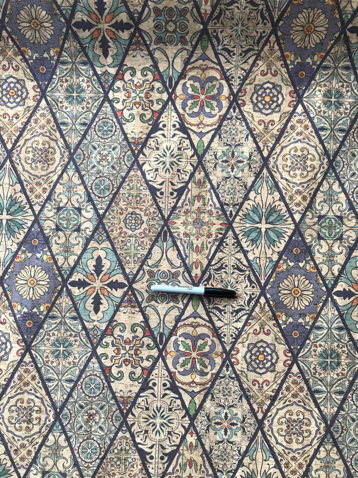 Printed Diamond Tiles Cork Fabric (18x26)