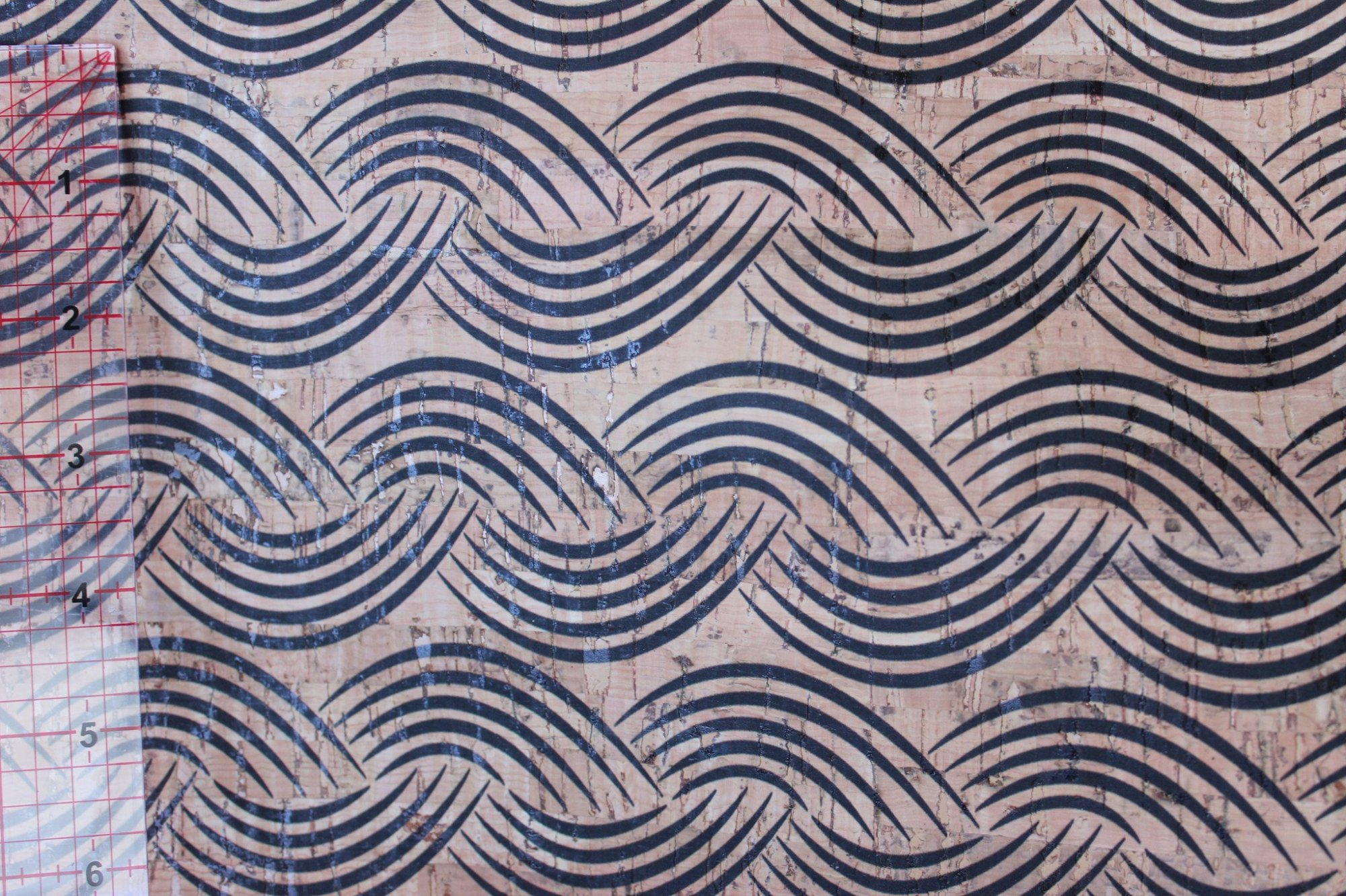 Printed Waves Cork Fabric (18 x 36)