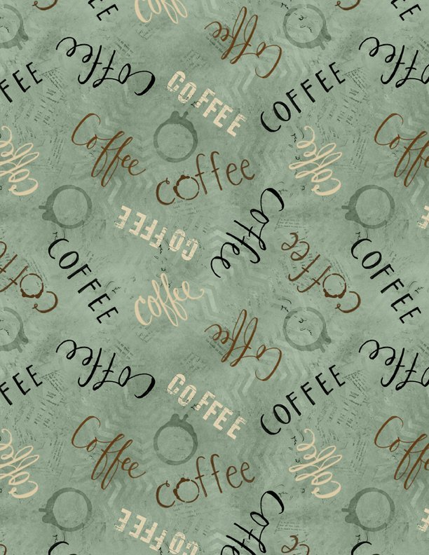 Coffee Words teal green
