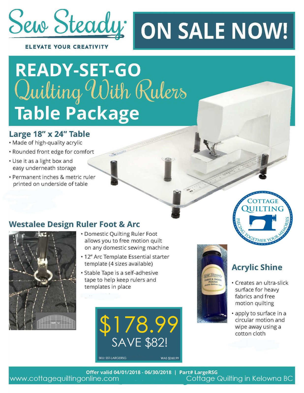 Sew Steady Ready Set Go Quilting Table Package
