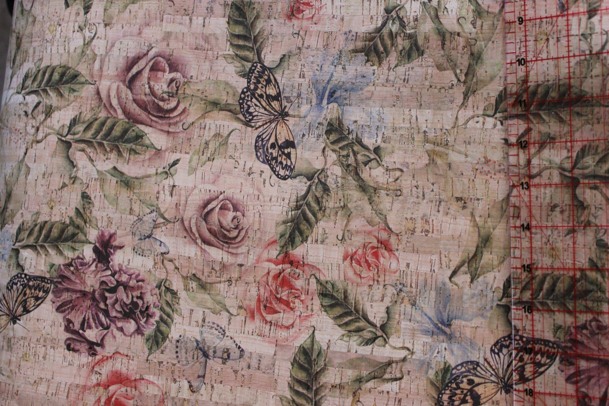 Printed Rose Garden Cork Fabric (18x18)