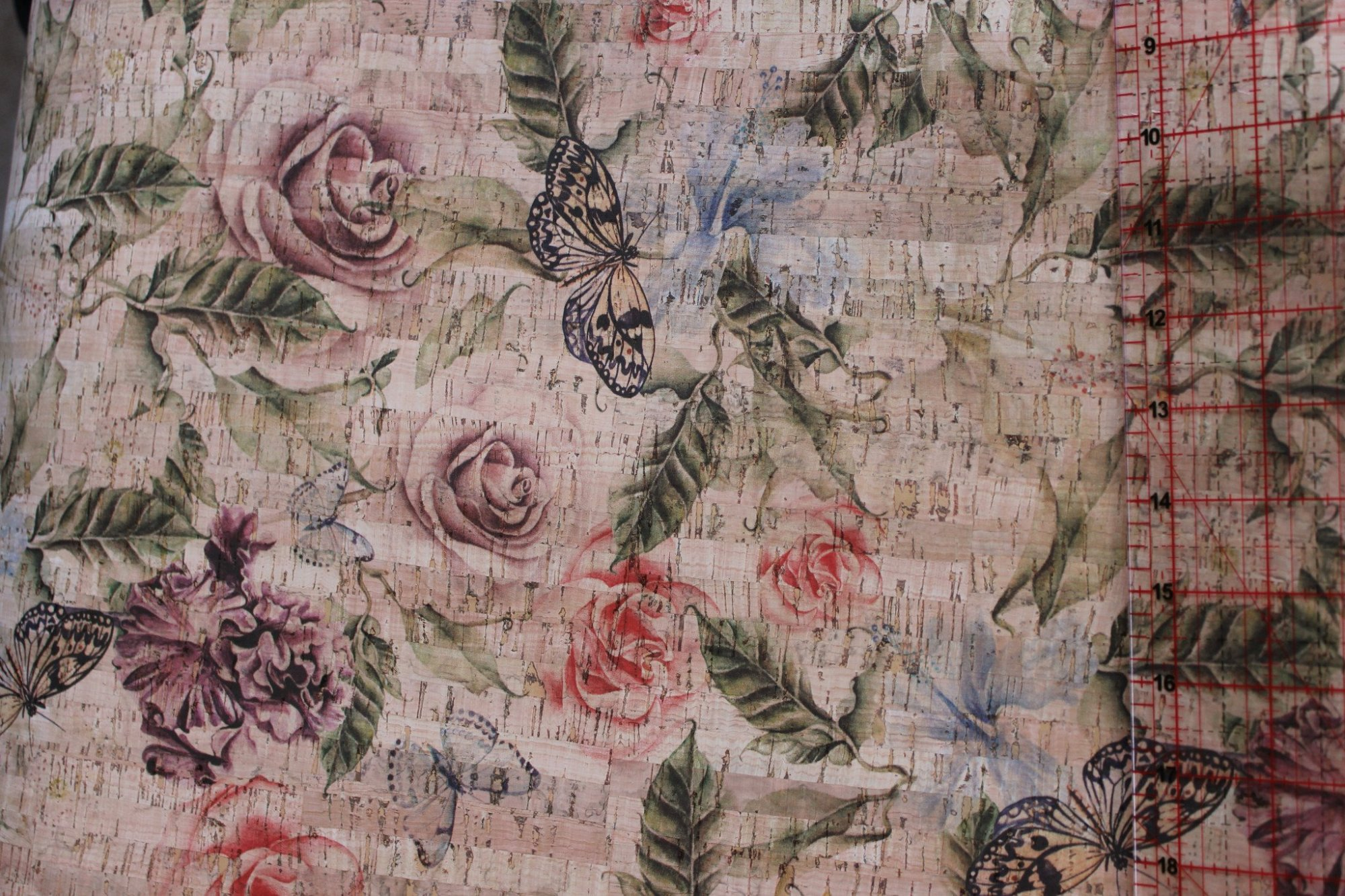 Printed Rose Garden Cork Fabric (36x36)