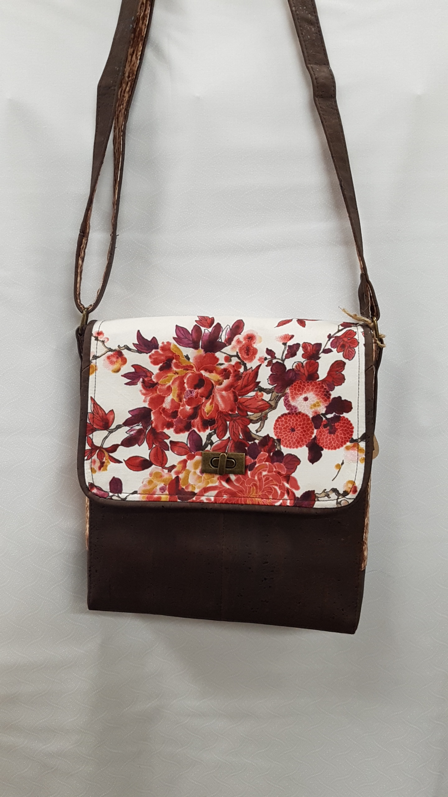 Satchel Brown with Flowers