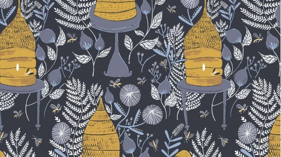 Honey Bee Navy Blue Hive