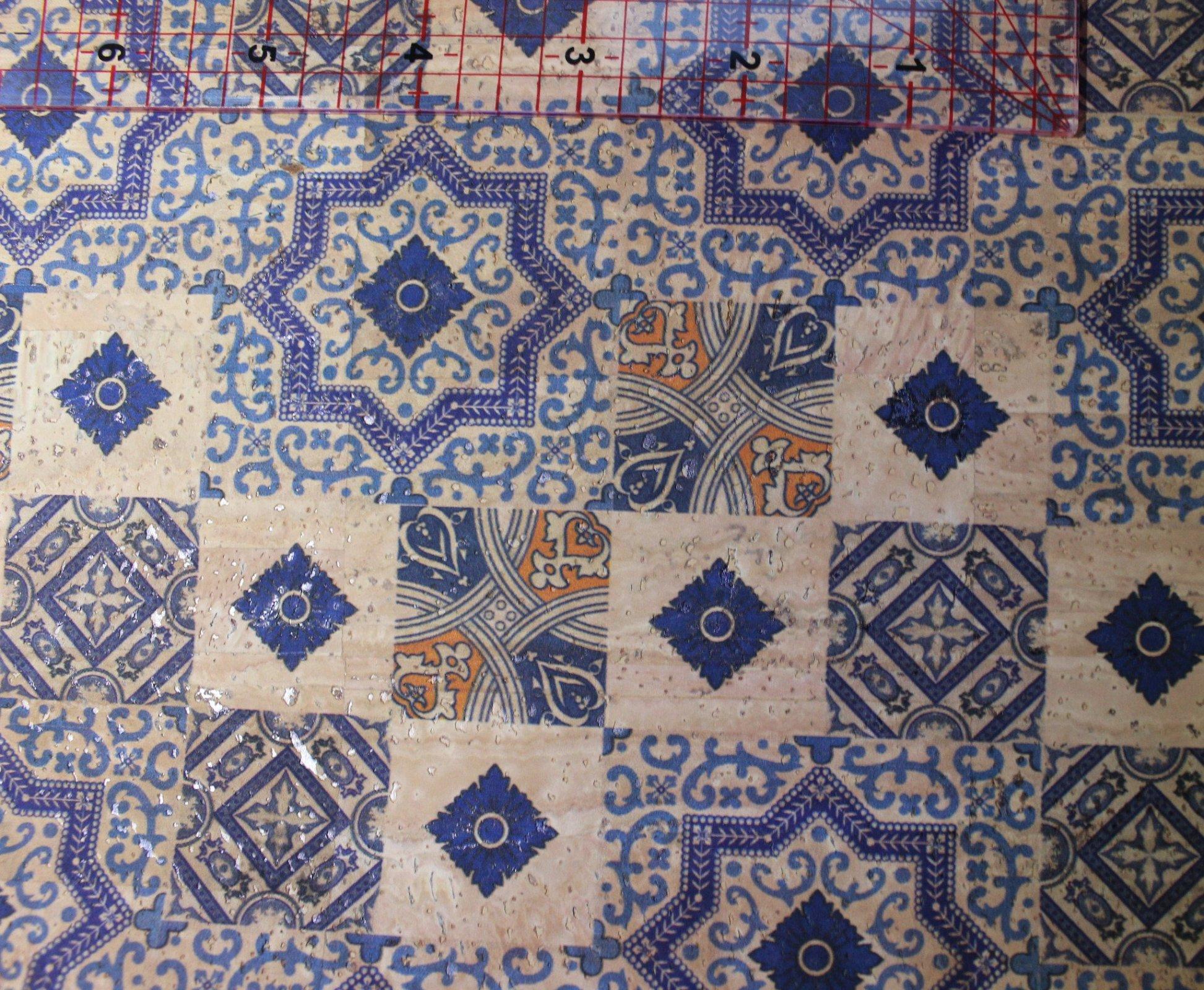 Printed Tiles Cork Fabric (36x36)