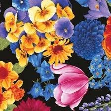 Timeless Treasures Garden Florals 5377 Black