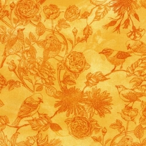 Timeless Treasures Petal Party 5551 Citrus Toile