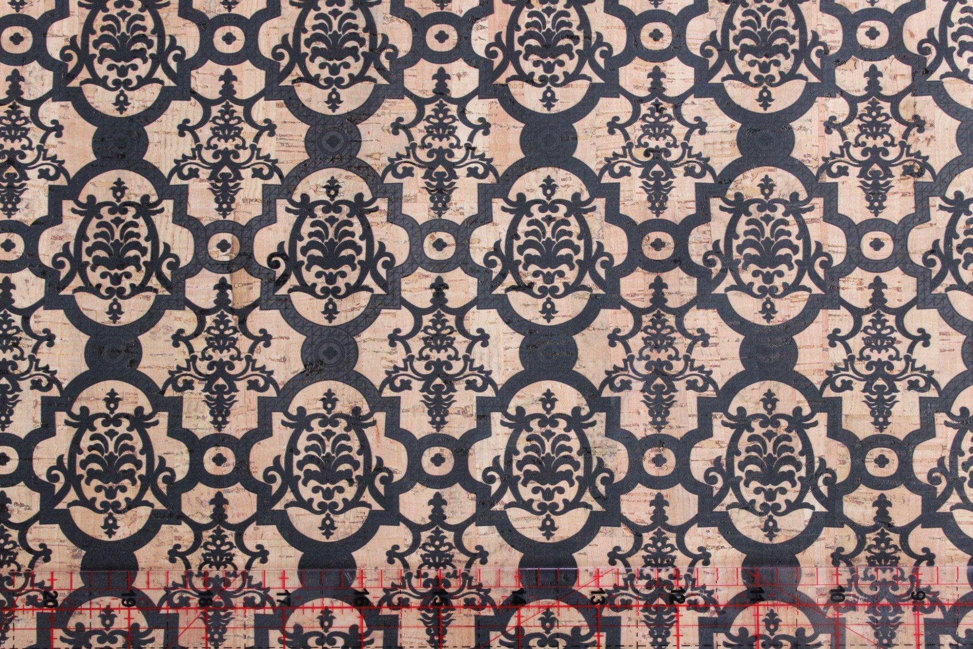 Printed Turtle Damask Cork Fabric (18x36)