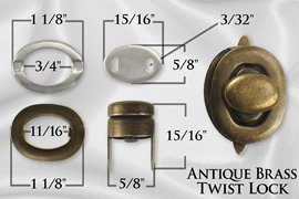 5/8 Antique Brass Plated Purse Twist Lock Closure