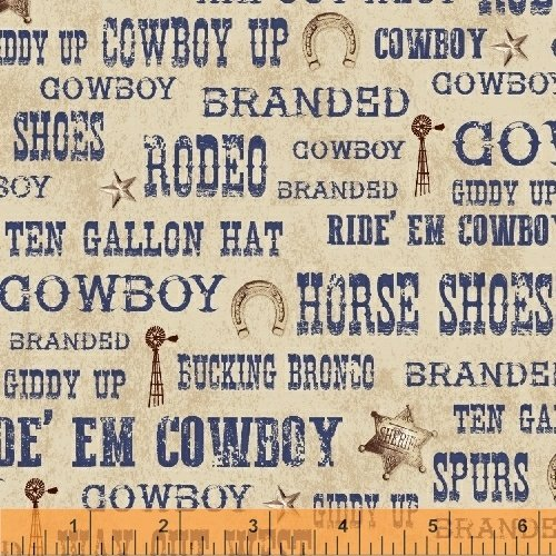 Ranch Hands Taupe & Blue Words  Whistler Studio