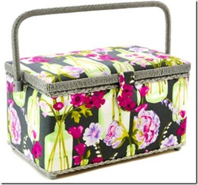 Medium Rectangle Sewing Basket - Grey Floral Pattern 11-1/2 x 6-5/8 x 6-1/2