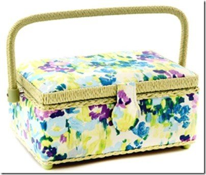 Small Rectangle Sewing Basket - Floral Pattern 9-1/4 x 6-1/4 x 4-1/4