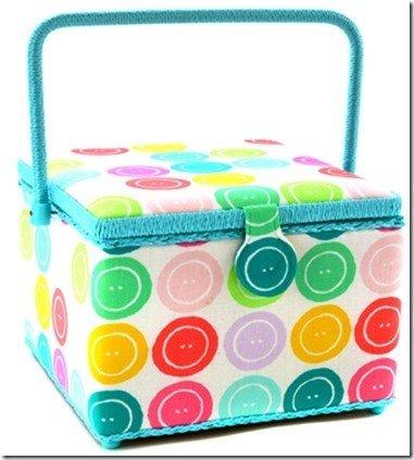 Large Square Sewing Basket-10-1/2x10-1/2x7-3/4 Button Motif Pattern