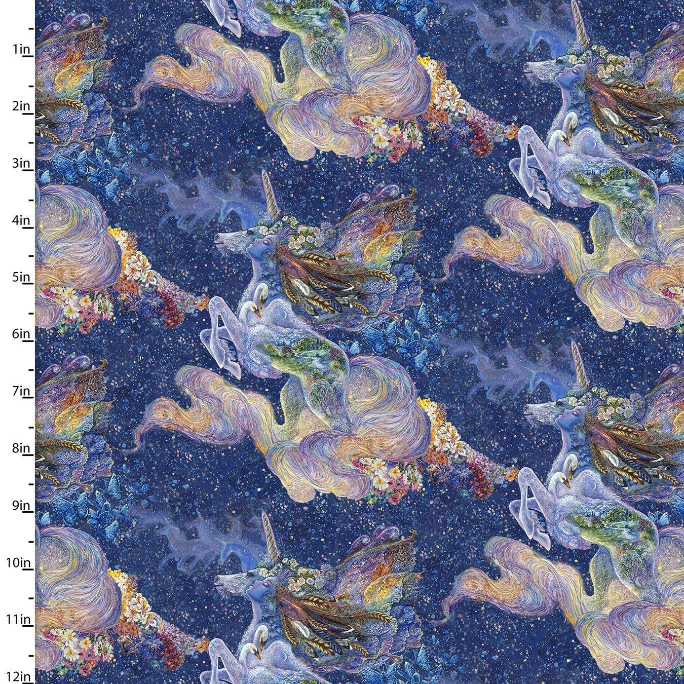 3 Wishes Celestial Journey By Josephine Wall CLJN CELESTIAL UNICORN DR 17137-NVY-CTN-D