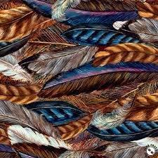 3 Wishes Fabric Spirit Of Flight Feathers 3WI16486-BRN-CTN-D