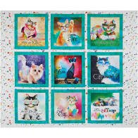 3 Wishes Fabric Good Kitty Cat Panel 3WI16541-WHT-CTN-D