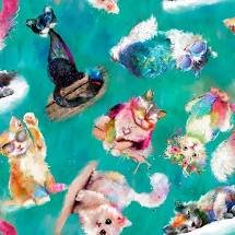 3 Wishes Fabric Good Kitty Tossed Cats 3WI16548-TRQ-CTN-D