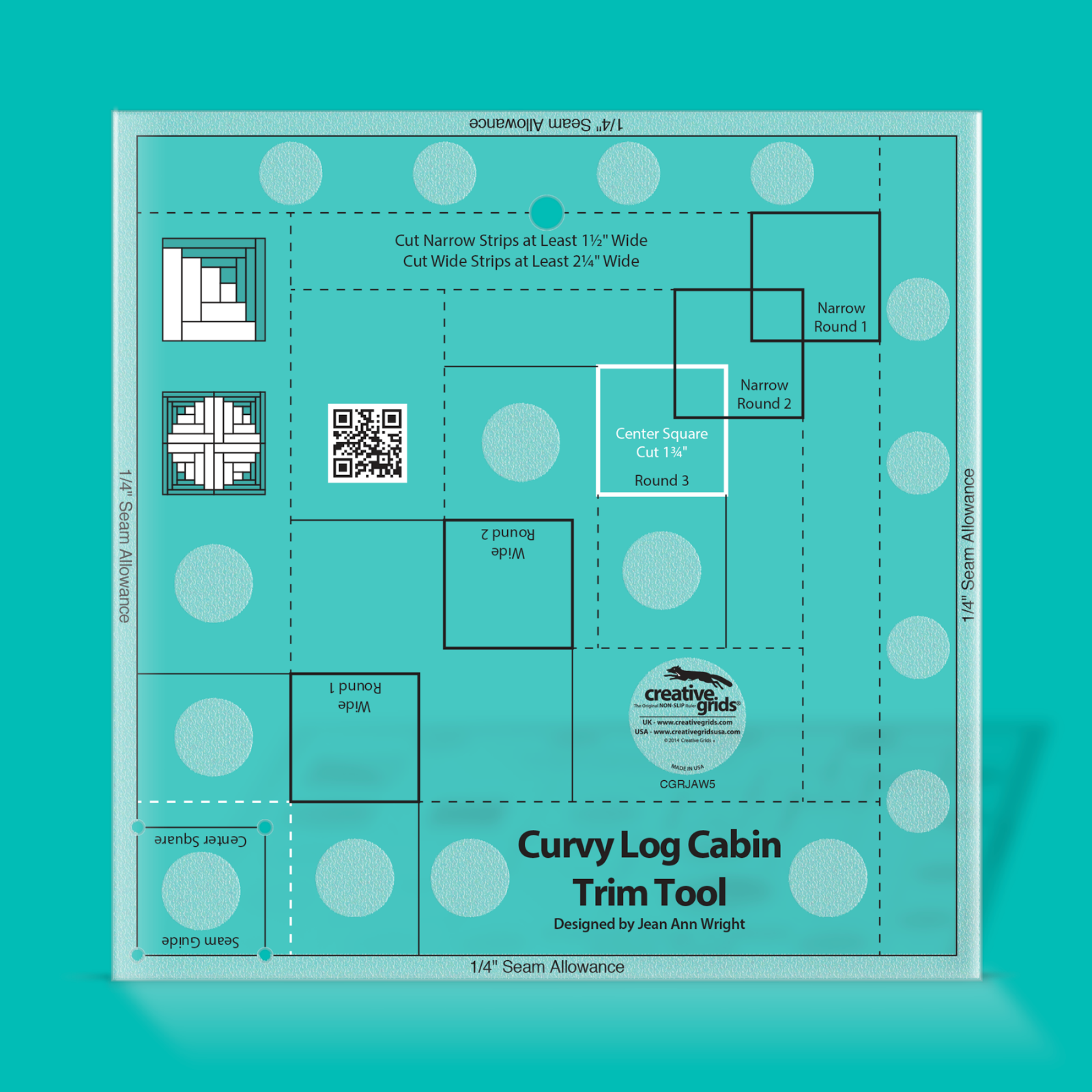 Creative Grids Non-Slip CGRJAW5 - 8 Curvy Log Cabin Trim Tool
