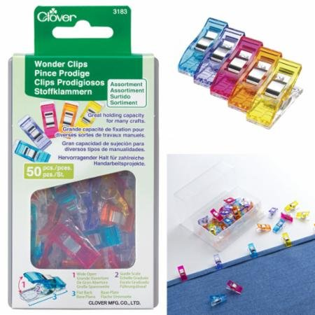 Clover Wonder Clips Assorted Colors 50 Count