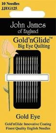 John James Gold 'n Glide Big Eye Quilting Needle Size 11 - 10 Count Package