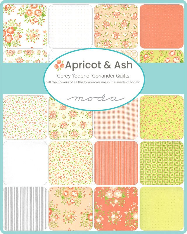 Moda Apricot & Ash Charm Pack by Corey Yoder of Coriander Quilts