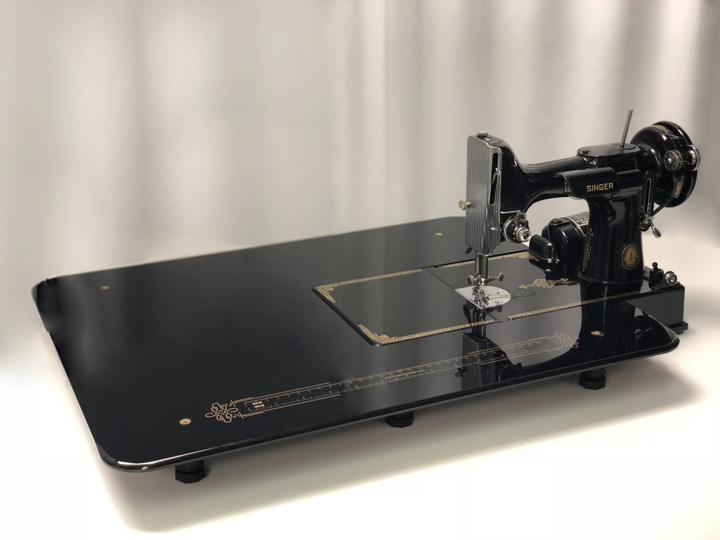 Sew Steady Singer 221 Featherweight Black Table  with Gold Scroll 17.75″ x 22.5″