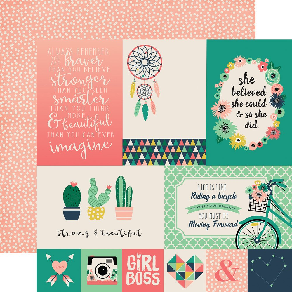 Just Be You 12x12 Printed Paper- 4x6 Journaling Cards