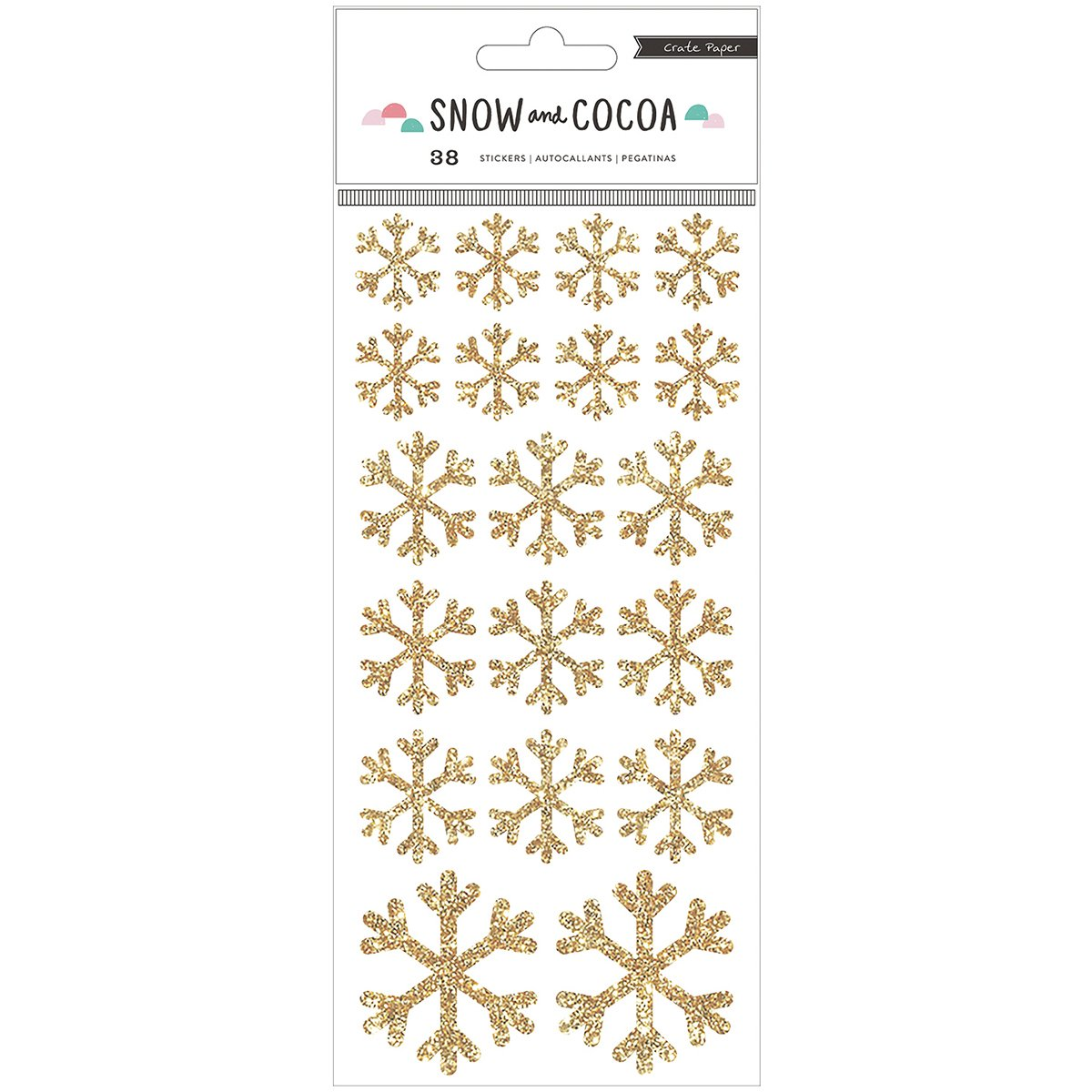 Snow and Cocoa Gold Snowflake Stickers