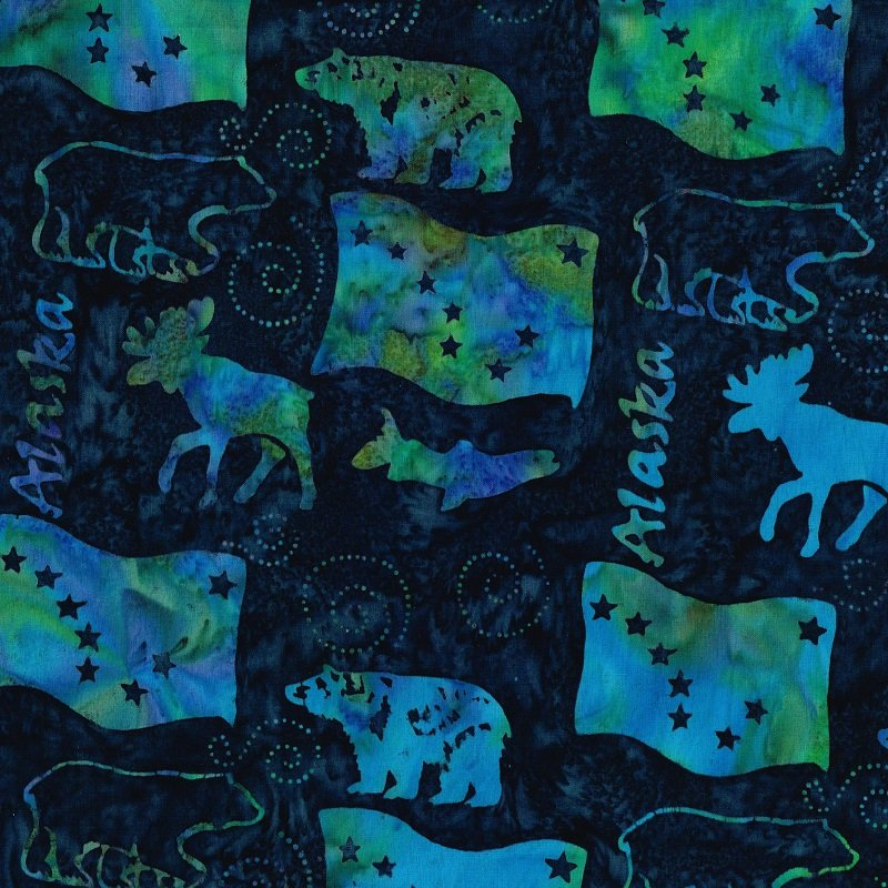 Alaska Wildlife Batik - Blue