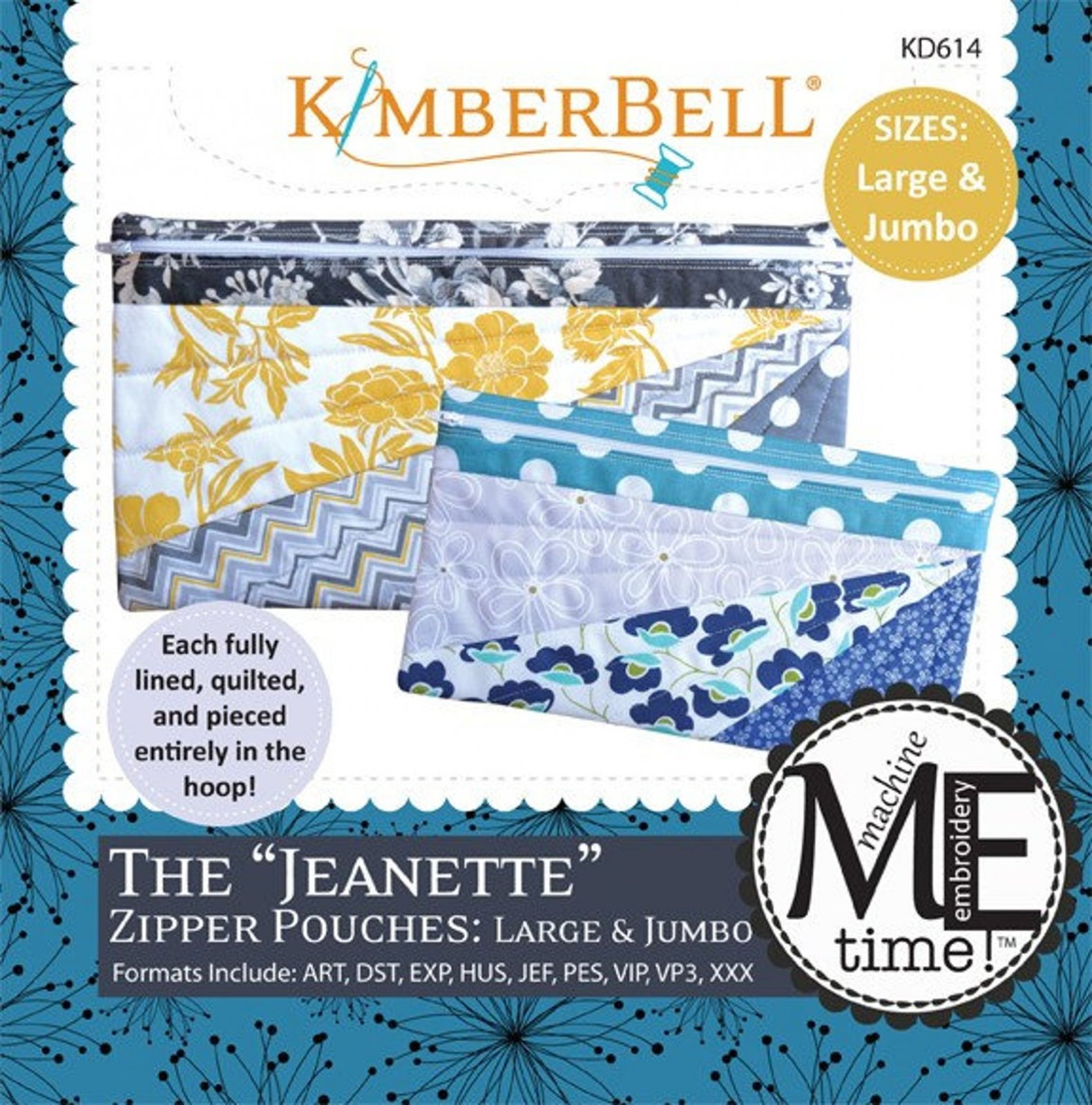 Kimberbell The Jeanette Zipper Pouches Large & Jumbo