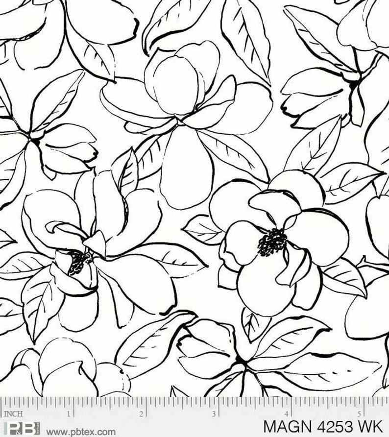 Magnolia Floral Outlines - Black