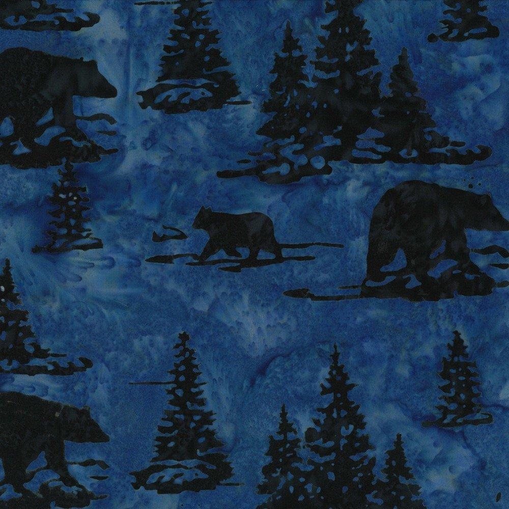 Hoffman Batik Bear & Pines Midnight