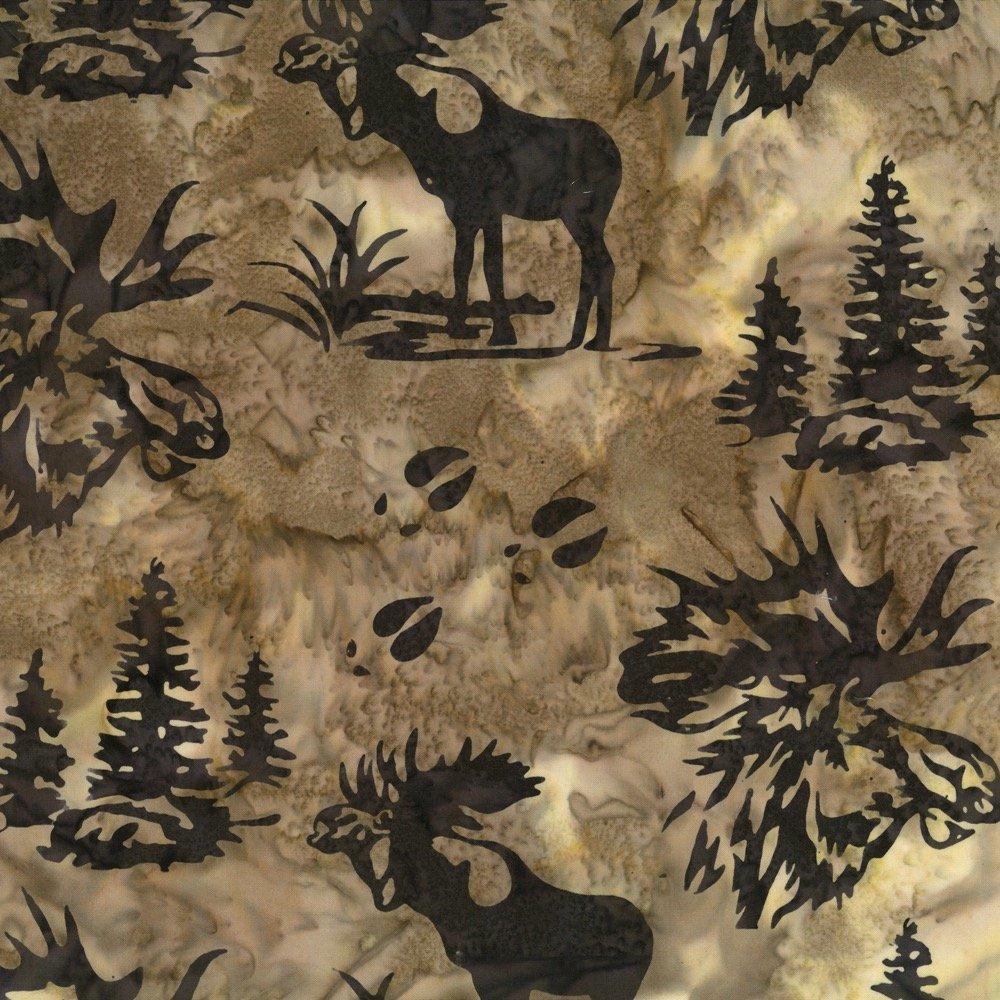 Hoffman Batik Moose and Prints Mocha