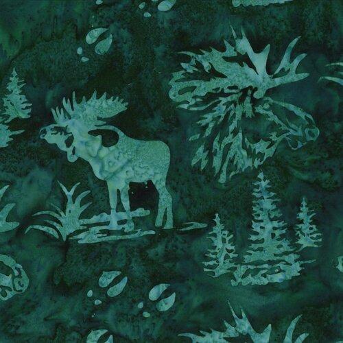 Hoffman Batik Moose and Prints Viridian
