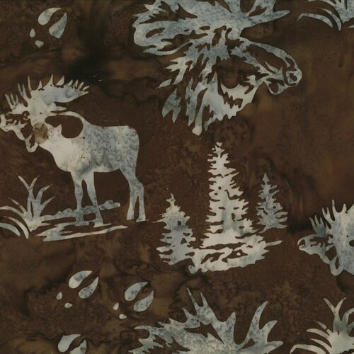 Hoffman Batik Moose and Prints Cedar