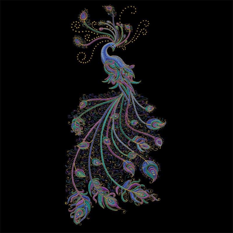 Peacock Flourish USB Embroidery Designs
