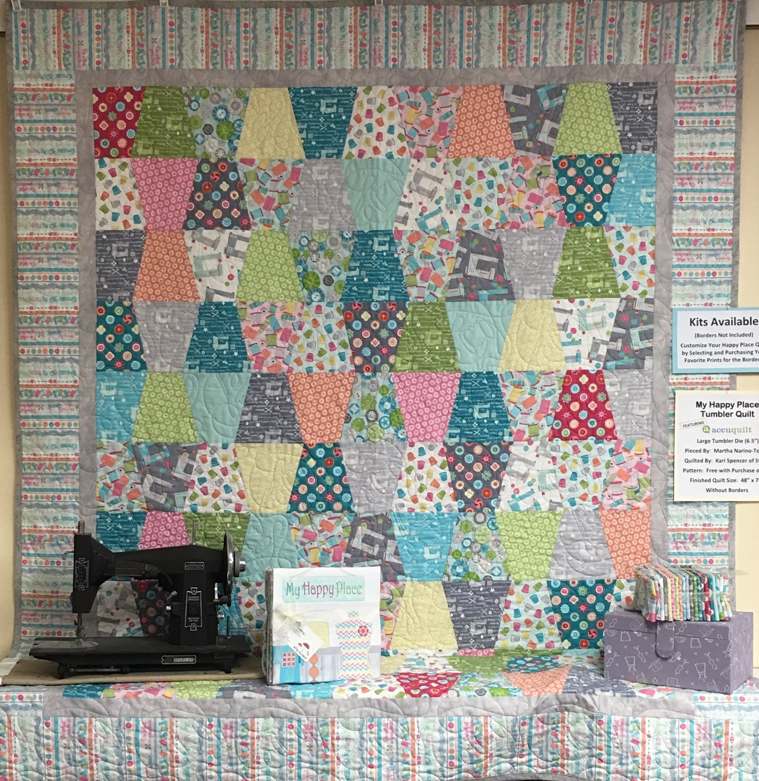 Sew Happy Lg Tumbler Quilt Kit