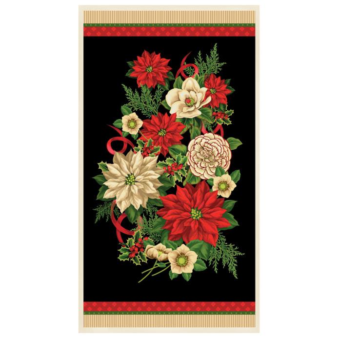Holiday Lane -  Panel - Flowers - Black/Red/White