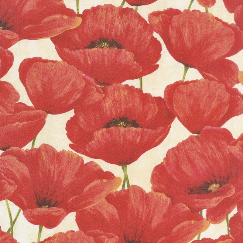 Scarlet Dance - Poppies - Cream/Red