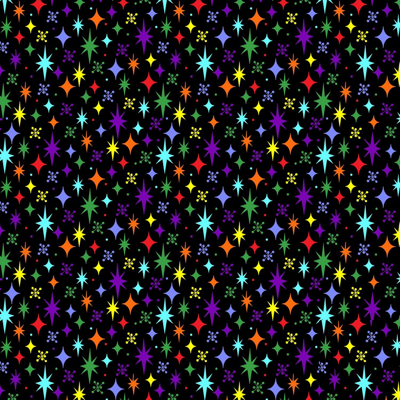 Stars - Black/Multi - RJR Fabrics