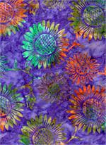 Batik Textiles - Flowers - Purple/Multi