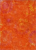 Batik Textiles - Flowers - Orange/Pink