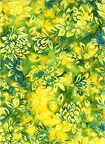 Batik Textiles - Leaves - Yellow/Grey