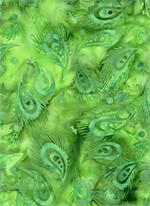 Batik Textiles - Feathers - Green