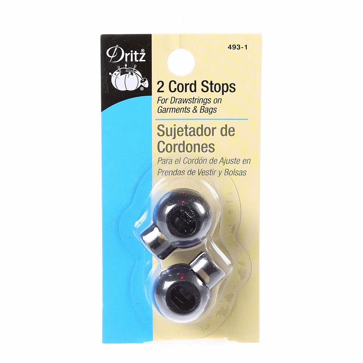 Cord Stops Round Black 2ct