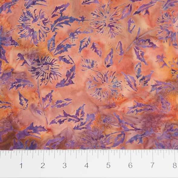 Bayan Batiks - Leaves - Orange/Blue