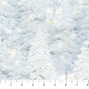 Enchanted Forest Flannel - Trees - Lt Blue