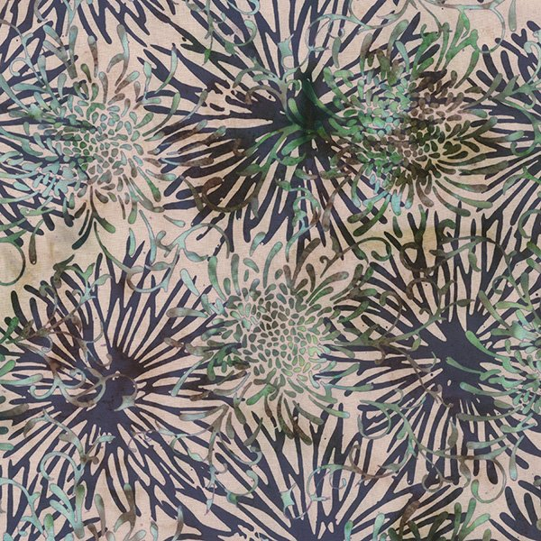 Hoffman Bali - Flowers - Cream/Purple