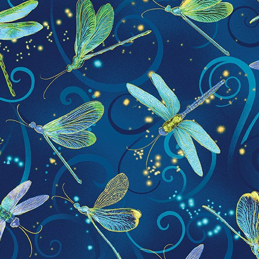 Dancing Dragonflies Midnight Blue By Kanvas Studio
