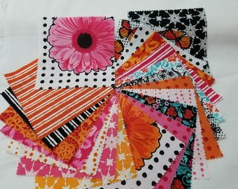 Flower Power Charm Pack 5'' squares 42 pieces Orange&Pink